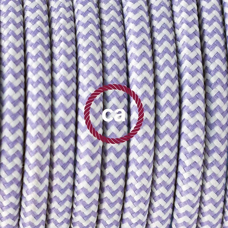 Pendel único, lámpara colgante cable textil ZigZag Lila RZ07