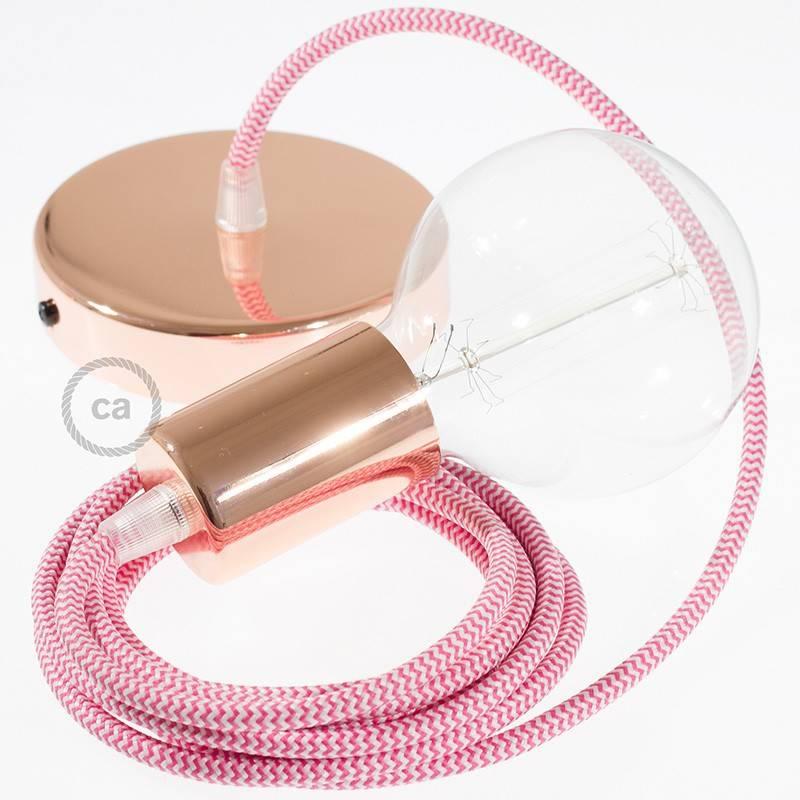 Pendel único, lámpara colgante cable textil ZigZag Fuchsia RZ08