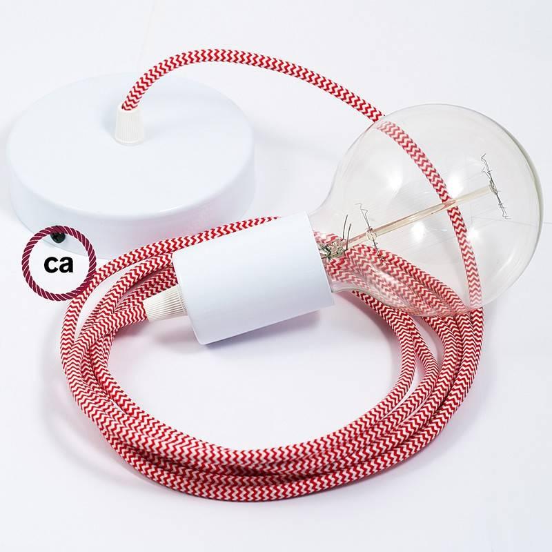 Pendel único, lámpara colgante cable textil ZigZag Rojo RZ09