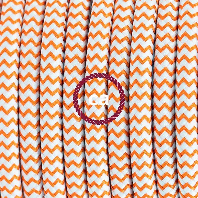 Pendel único, lámpara colgante cable textil ZigZag Naranja RZ15