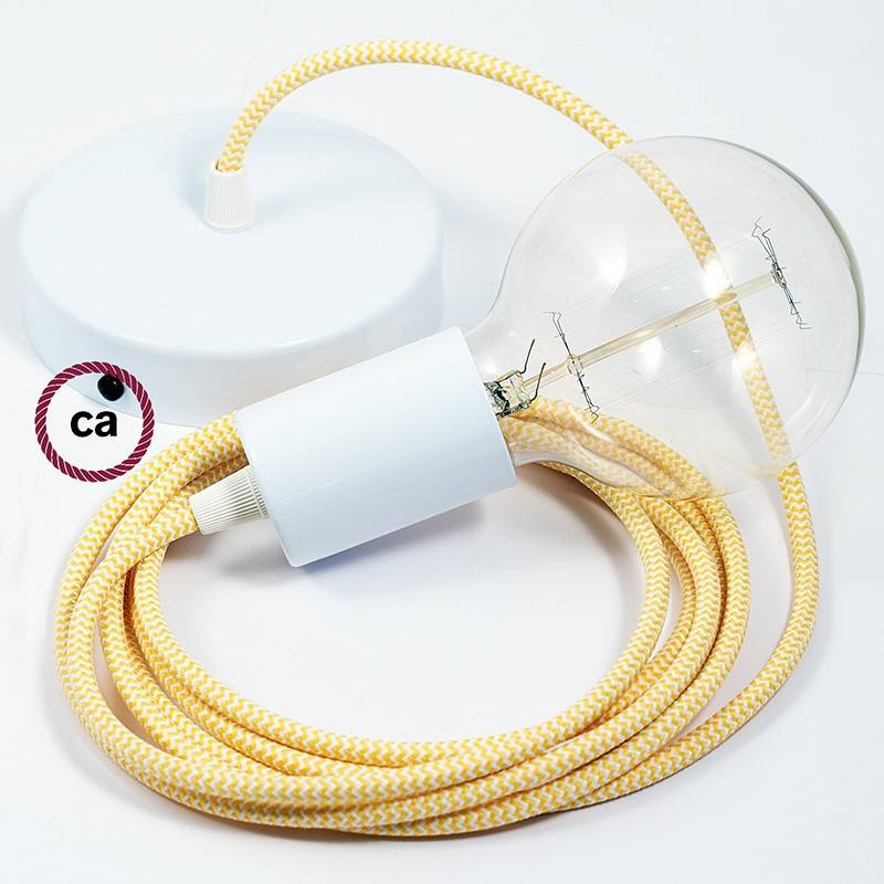 Pendel único, lámpara colgante cable textil ZigZag Amarillo RZ10