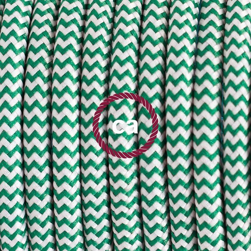 Pendel único, lámpara colgante cable textil ZigZag Verde RZ06