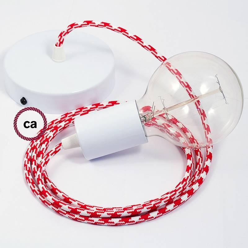 Pendel único, lámpara colgante cable textil Bicolor Rojo RP09