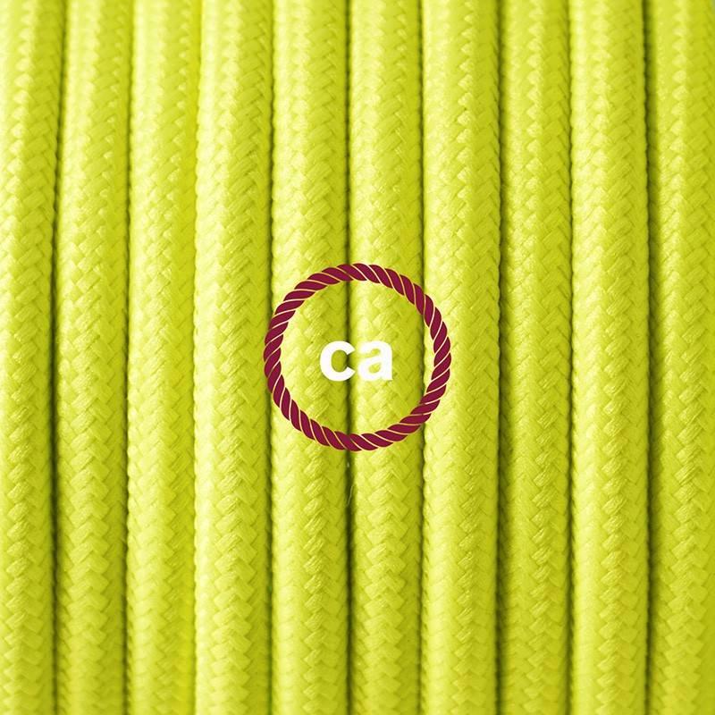 Pendel único, lámpara colgante cable textil Amarillo Fluo RF10