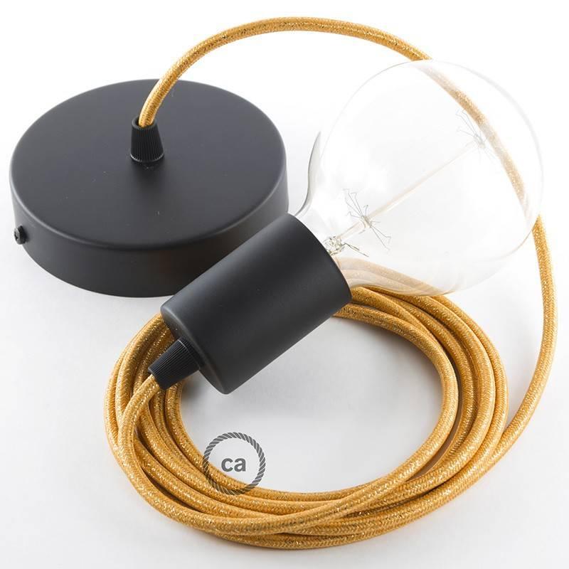 Pendel único, lámpara colgante cable textil Dorado Glitter RL05