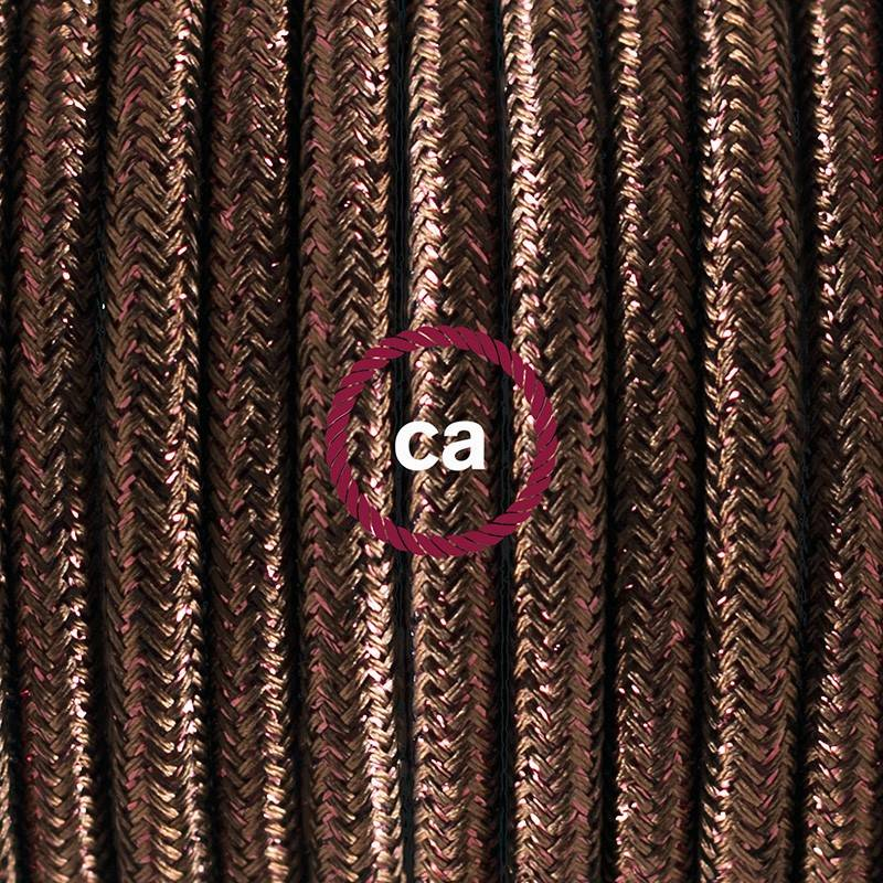 Pendel único, lámpara colgante cable textil Marrón Glitter RL13