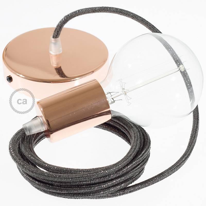 Pendel único, lámpara colgante cable textil Gris Glitter RL03