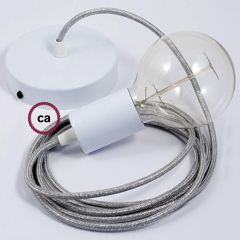 Pendel único, lámpara colgante cable textil Plateado Glitter RL02