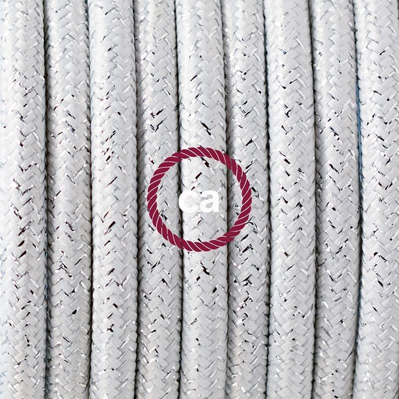 Pendel único, lámpara colgante cable textil Blanco Glitter RL01