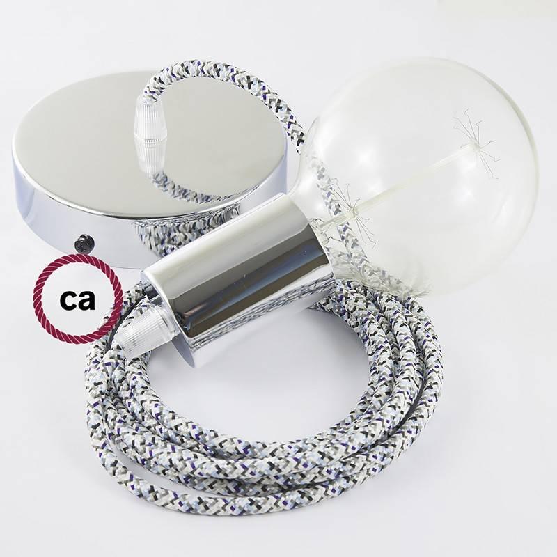 Pendel único, lámpara colgante cable textil Pixel Hielo RX04