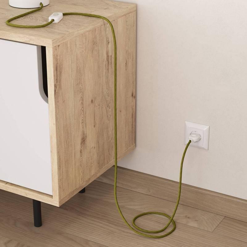 Cable Eléctrico Redondo Recubierto en Yute Verde Hierba RN23