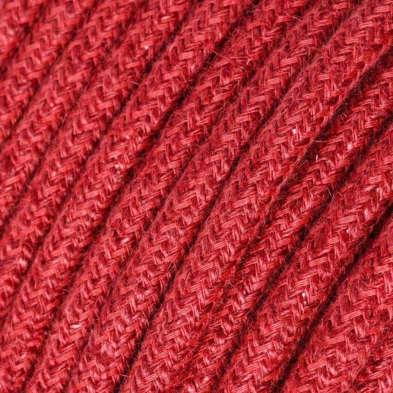 Cable eléctrico redondo recubierto en yute color Rojo Cereza RN24