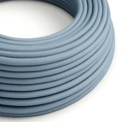 Cable Eléctrico Redondo Recubierto en Algodón Color Sólido Oceano RC53