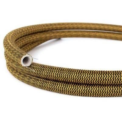 Creative-Tube, Tubo flexible diámetro 20 mm, revestido de tela RZ24 Efecto Seda Oro y Negro
