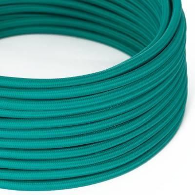 Cable Eléctrico Redondo Recubierto en tejido Efecto Seda Color Sólido, Turquesa RM71
