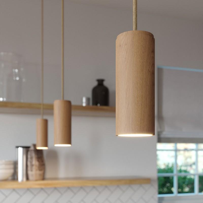 Lámpara colgante Made in Italy con cable textil y pantalla Tub-E14 en madera