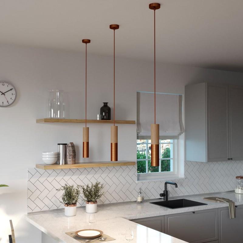 Lámpara colgante Made in Italy con cable textil y doble pantalla Tub-E14 en madera y metal
