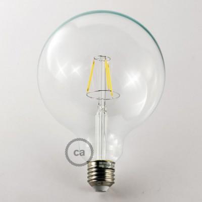 Bombilla Transparente LED Globo G125 Filamento Corto 4W E27 Decorativa Vintage 2700K