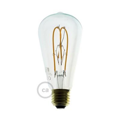 Bombilla Transparente LED Edison ST64 Filamento Curvado con Doble Loop 5W E27 Dimmable 2200K
