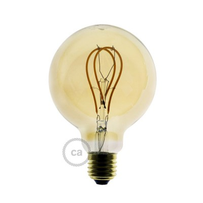 Bombilla Dorada LED Globo G95 Filamento Curvado con Doble Loop 5W E27 Dimmable 2000K