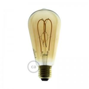 Bombilla Dorada LED Edison ST64 Filamento Curvado con Doble Loop 5W E27 Dimmable 2000K