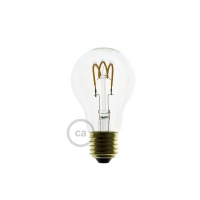 Bombilla Transparente LED Standard A60 Filamento Curvado con Espiral 3W E27 Dimmable 2200K