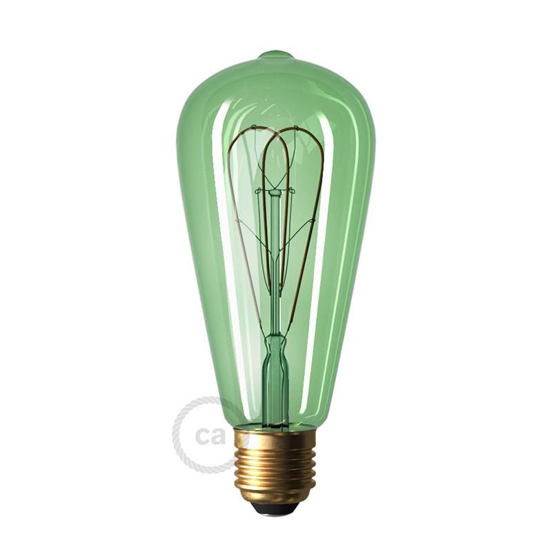 Bombilla Esmeralda LED Edison ST64 Curvado Filamento Doble Loop 5W E27 Regulable 2200K
