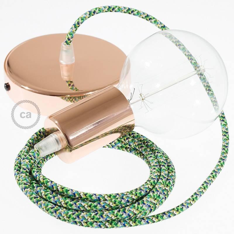 Pendel único, lámpara colgante cable textil Pixel Verde RX05