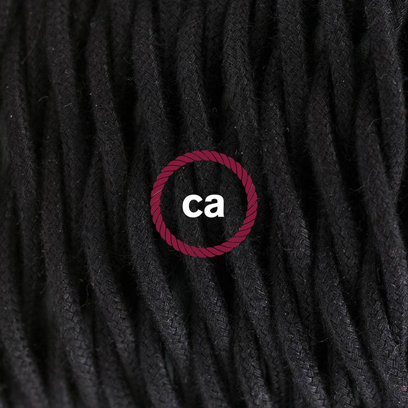 Pendel único, lámpara colgante cable textil Negro en Algodón TC04