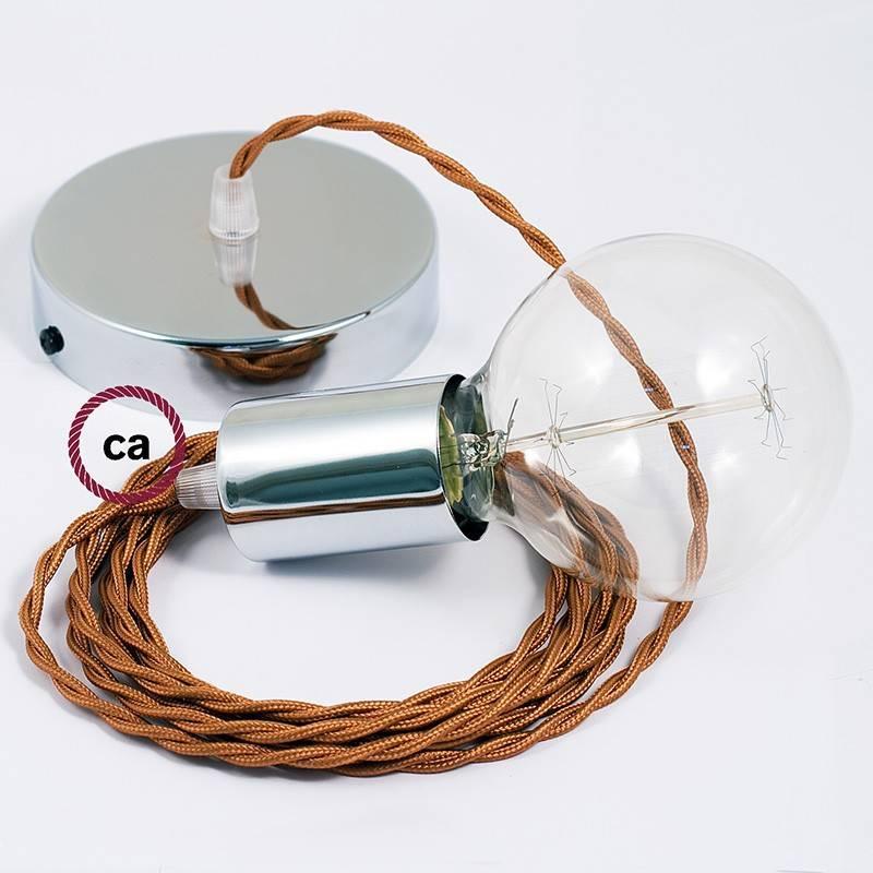 Pendel único, lámpara colgante cable textil Whiskey en tejido Efecto Seda TM22
