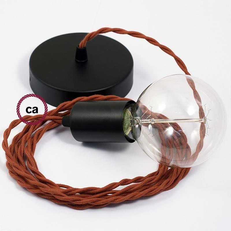 Pendel único, lámpara colgante cable textil Ciervo en Algodón TC23