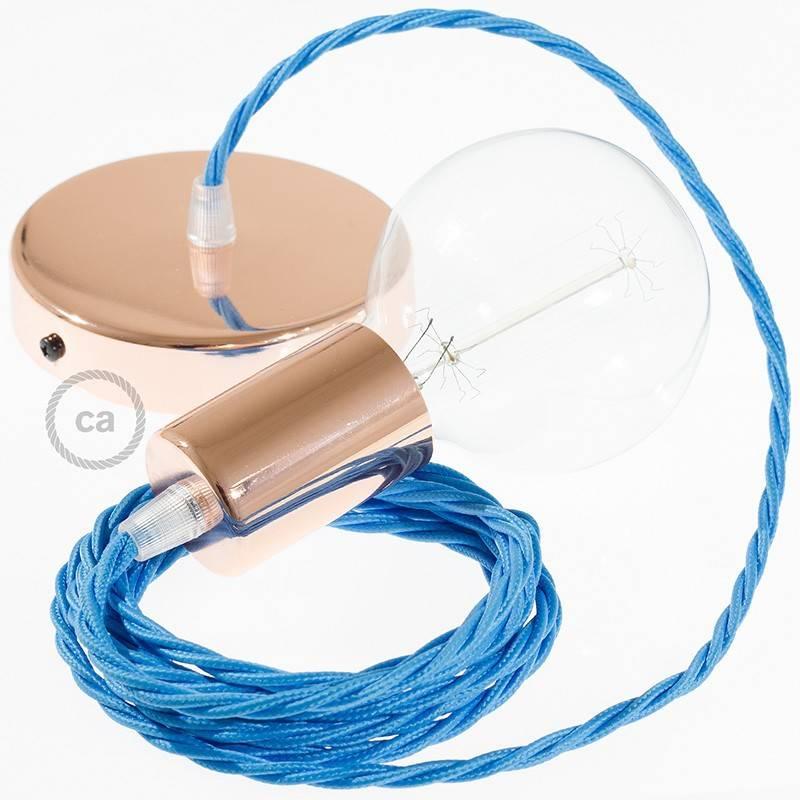 Pendel único, lámpara colgante cable textil Turquesa en tejido Efecto Seda TM11