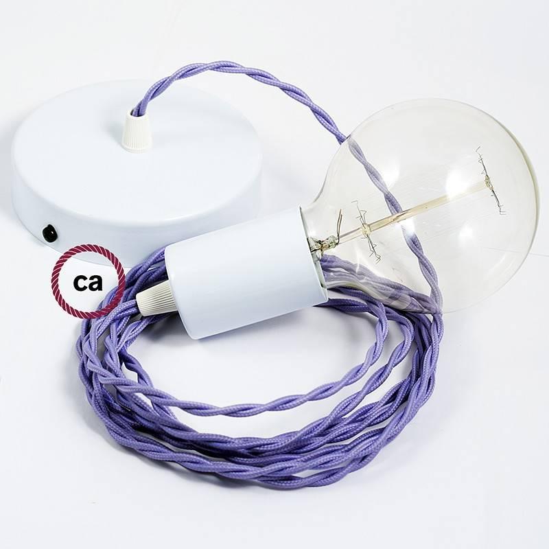Pendel único, lámpara colgante cable textil Lila en tejido Efecto Seda TM07