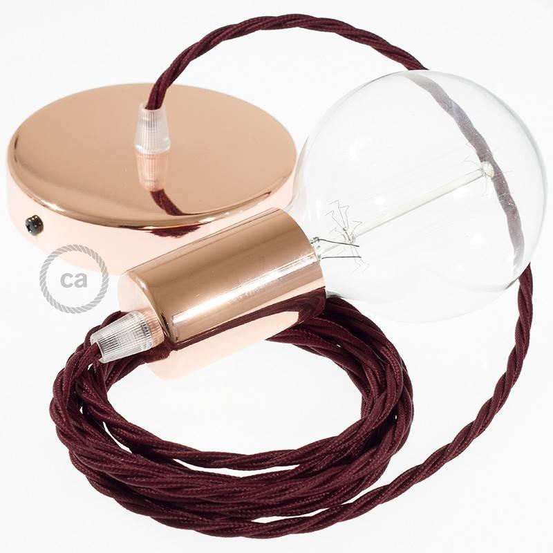 Pendel único, lámpara colgante cable textil Bordeos en tejido Efecto Seda TM19