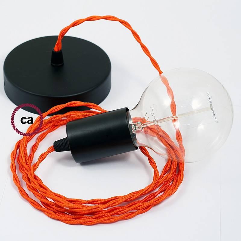Pendel único, lámpara colgante cable textil Naranja en tejido Efecto Seda TM15