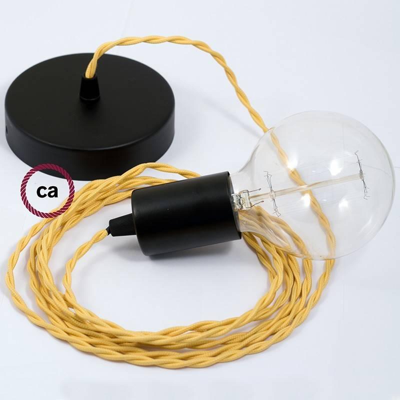 Pendel único, lámpara colgante cable textil Amarillo en tejido Efecto Seda TM10