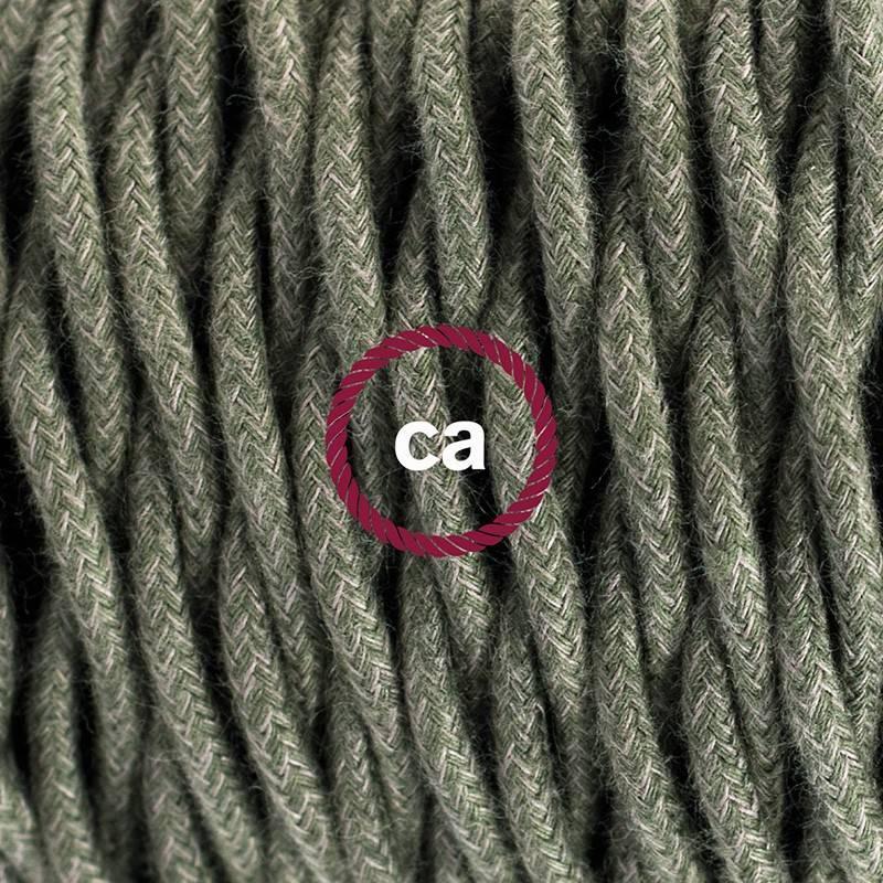 Pendel único, lámpara colgante cable textil Gris Verde en Algodón TC63