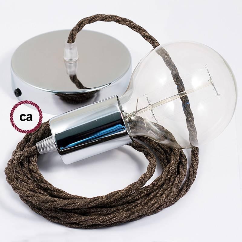 Pendel único, lámpara colgante cable textil Marrón en Lino Natural TN04