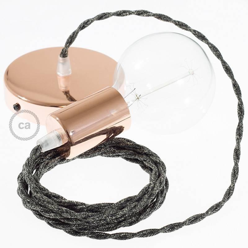 Pendel único, lámpara colgante cable textil Antracita en Lino Natural TN03