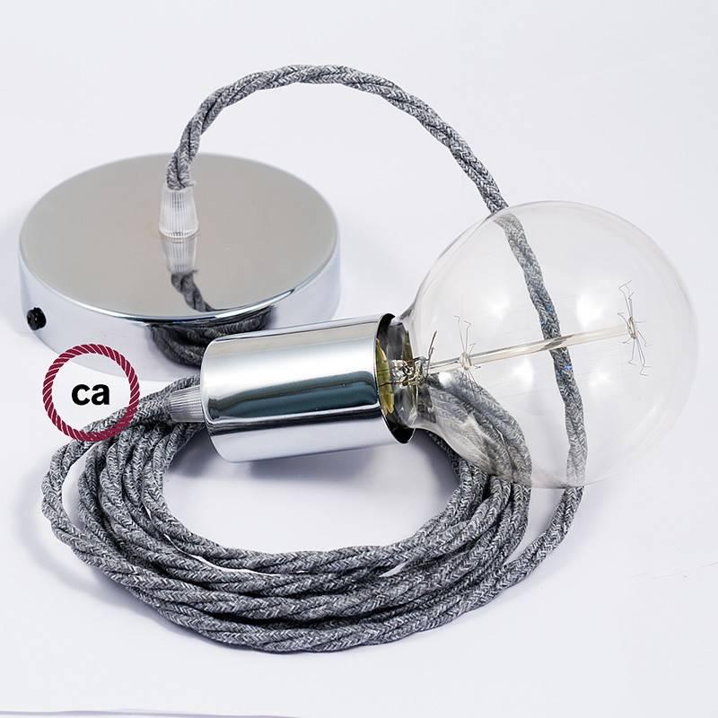 Pendel único, lámpara colgante cable textil Gris en Lino Natural TN02