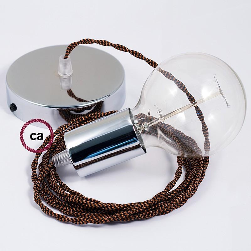 Pendel único, lámpara colgante cable textil Negro e Whiskey en tejido Efecto Seda TZ22