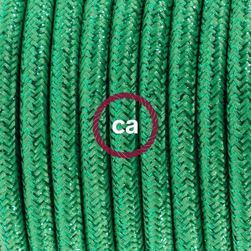 Pendel único, lámpara colgante cable textil Verde Glitter RL06