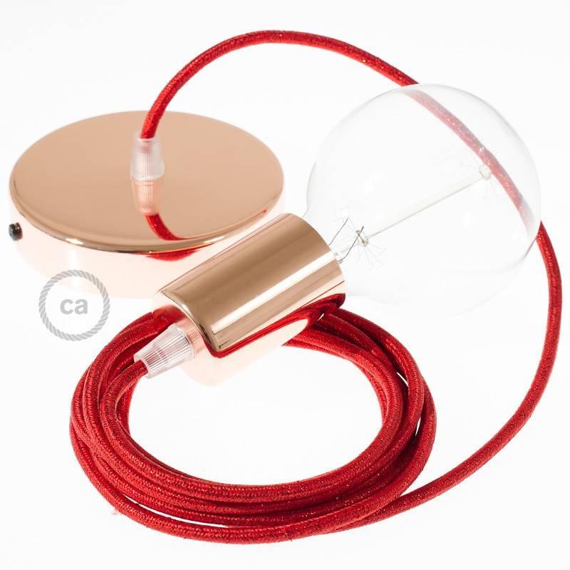 Pendel único, lámpara colgante cable textil Rojo Glitter RL09