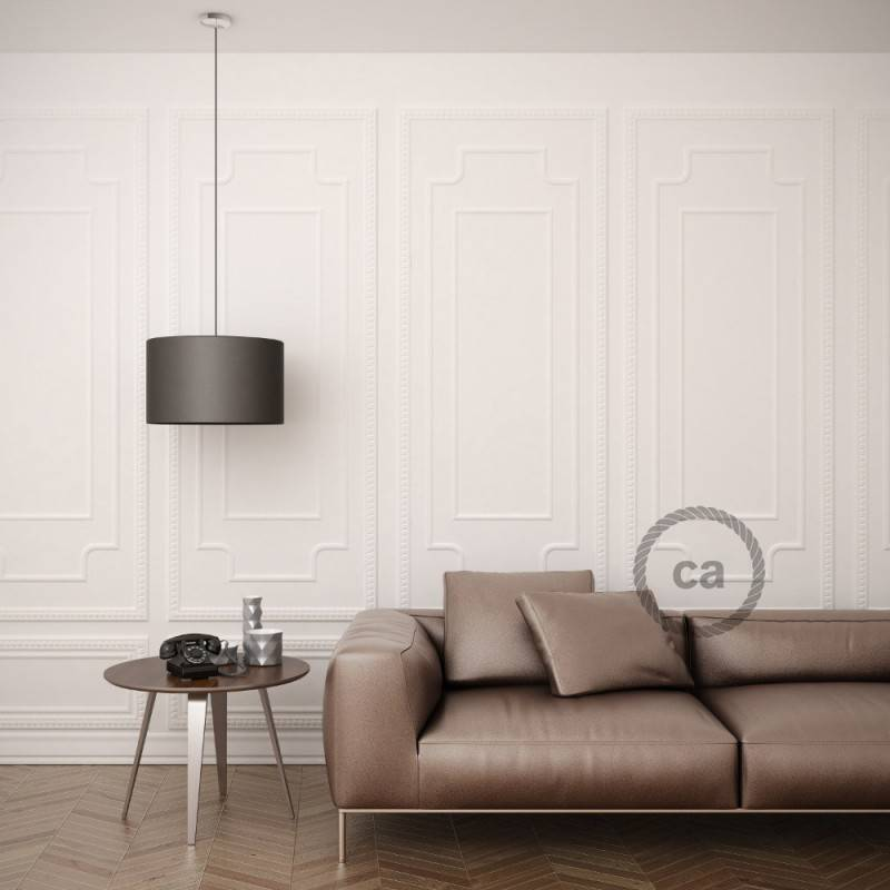 Pendel para pantalla, lámpara colgante cable textil Negro en Algodón RC04
