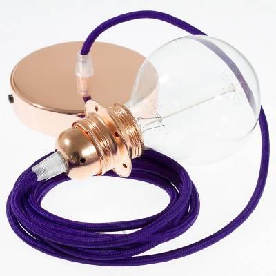Pendel para pantalla, lámpara colgante cable textil Púrpura en tejido Efecto Seda RM14