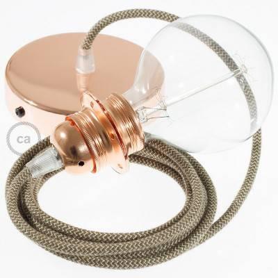 Pendel para pantalla, lámpara colgante cable textil ZigZag Corteza RD73