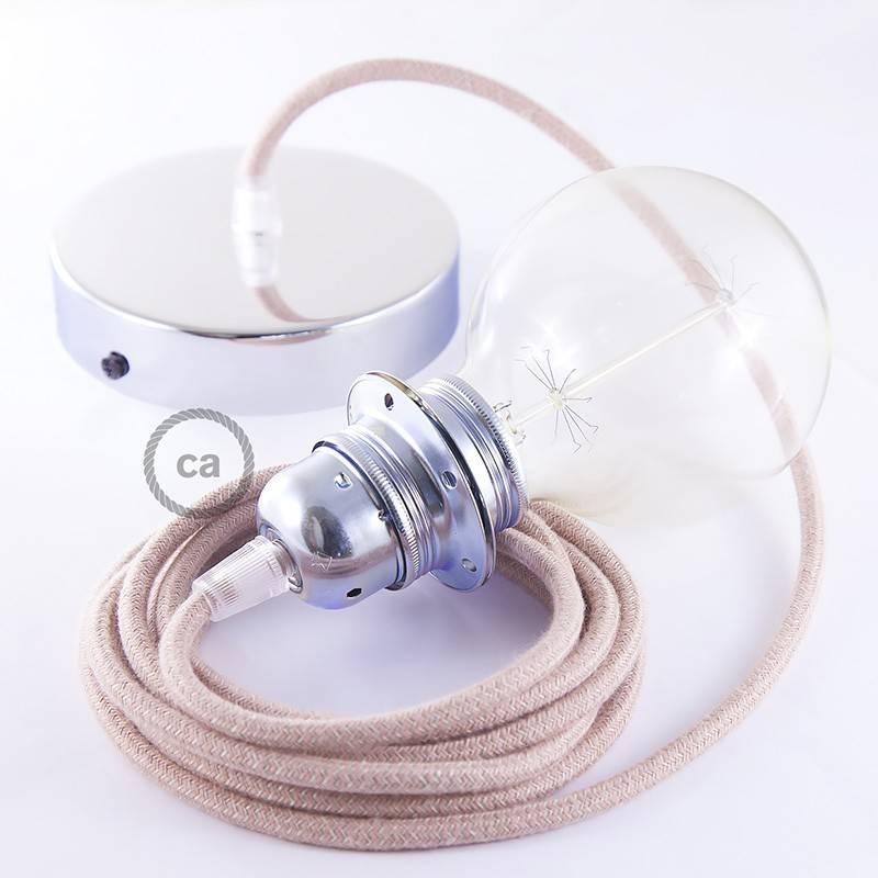 Pendel para pantalla, lámpara colgante cable textil ZigZag Rosa Antico RD71