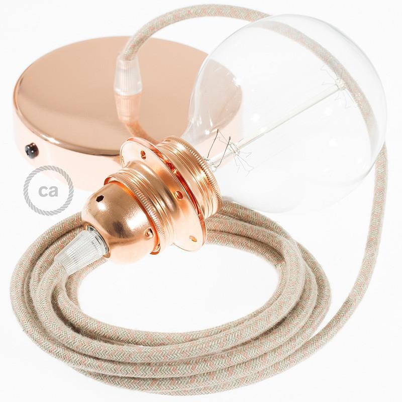 Pendel para pantalla, lámpara colgante cable textil Rombo Rosa Antico RD61