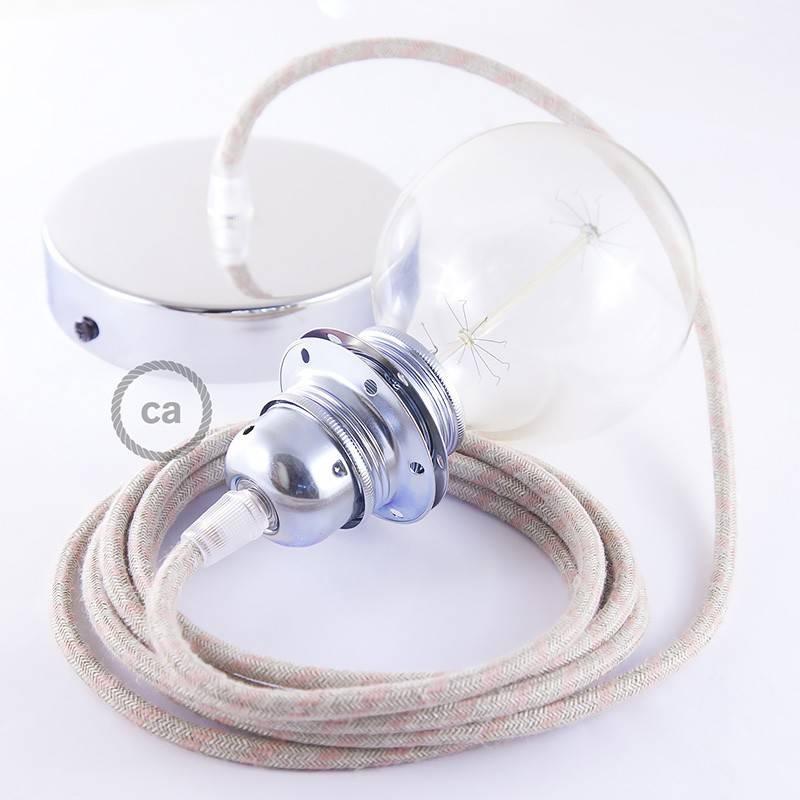 Pendel para pantalla, lámpara colgante cable textil Stripes Rosa Antico RD51