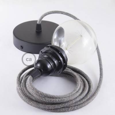 Pendel para pantalla, lámpara colgante cable textil ZigZag Antracita RD74